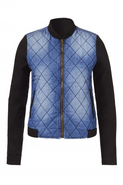 Quilted Front Bomber Jacket in Blue Sea & Black