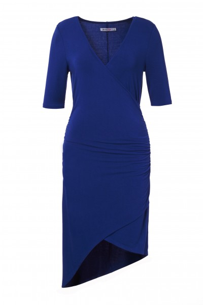 Ruched Crossover Dress in Cobalt