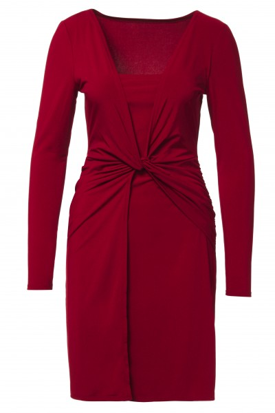 Twist Front Dress in Oxblood