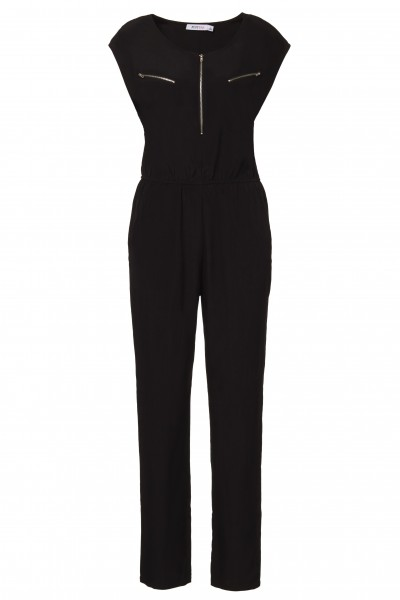 Zip Front Jumpsuit in Black