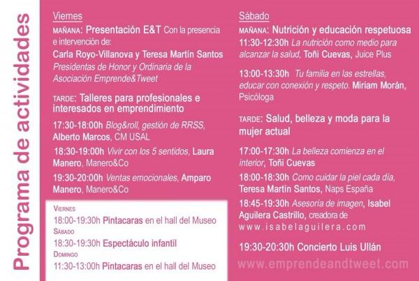 Programa de actividades de Emprende and Tweet en Salamanca